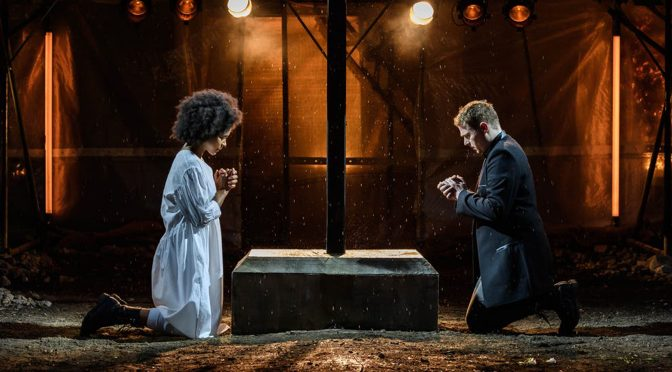 Isabel Adomakoh Young and Joel MacCormack in Romeo and Juliet at Regents Park credit Jane Hobson